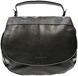 Kaizer KZ1885BLK Top Handle Bag for Women - Leather, Black