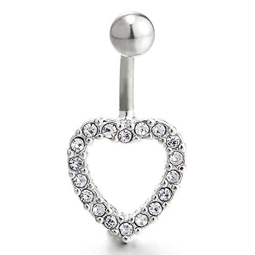 COOLSTEELANDBEYOND Corazón Pendientes de la Gota Joyas para el Cuerpo Piercing Ombligo Vientre Botón Anillo Barbells con Zirconio Cúbico