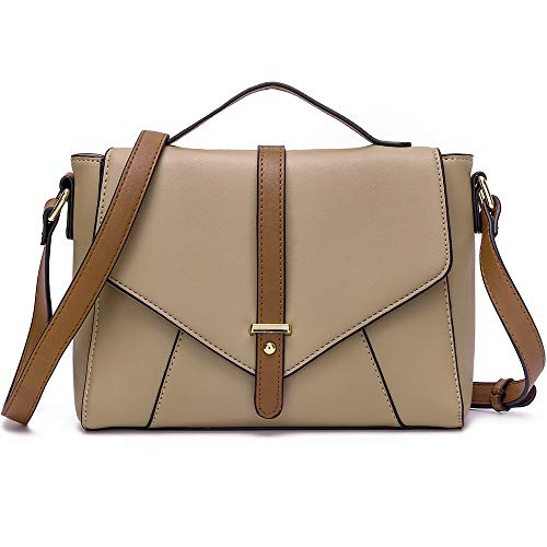 Ladies Designer Purses Cross Body Handbags Trendy Bags for Women Shoulder Bags (Khaki+Brown)