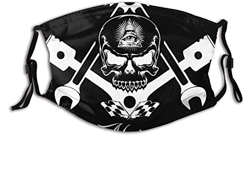 Made in USA American Thin Red Blue Line Flag Skull Black Face Mask With Filter Pocket Washable Reusable Face Bandanas Balaclava With 2 Pcs Filters-Cool Freemason Logo Skull Head Black White