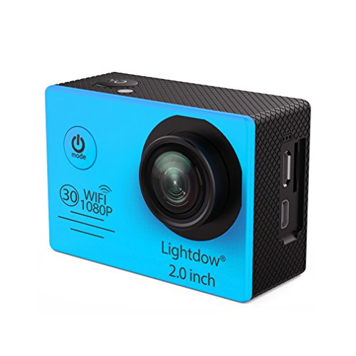 Lightdow LD6000 WiFi 1080P HD Sports Action Camera Kit - App Remote Control 30m Waterproof 2.0 Inch LCD Screen 170 Degree Wide Angle 2 Rechargeable Batteries and Mounting Accessories (Blue+WiFi)