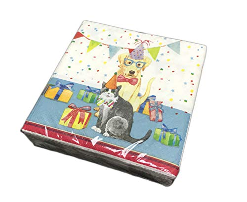 Festive Cat & Dog Dressed in Party Attire Pack of 40 Party Beverage Lunch Cocktail Paper Napkins (Golden Retriever & Cat)