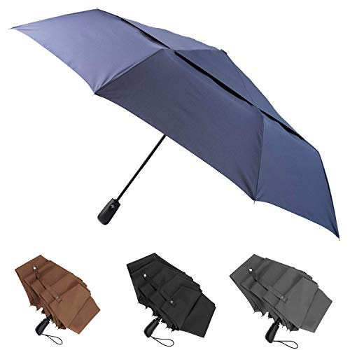 Large Umbrella Windproof 48 Inch Folds Into Portable Travel Size - Big Enough To Comfortably Fit In 2 Adults - Auto Open Close and Patented Vortex System For Superior Safety And Durability (Navy Blue)