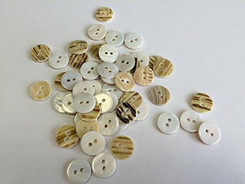 CHEMITAL Bottoni in Conchiglia Madreperla River per camiceria Retro Bianco Piatto con Due Fori conf 200 Pezzi (lineato 24 - Diametro mm. 15)