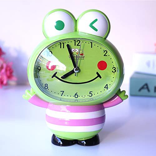 LTOOD Niños y niñas dedicados Relojes Lindos para el hogar Reloj Despertador para niños Dibujos Animados Hablar de la Moda Niños de Primaria, Rana de Frijol Mungo (Rosa)