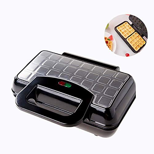 QIN.J.FANG-MY Home Household Muffin Machine Waffle Maker Sandwich Toaster,Multifunctional Kitchen with Double Baking Tray Non-Stick Coating Plates,Stainless Steel Automatic Temperature Control 750W