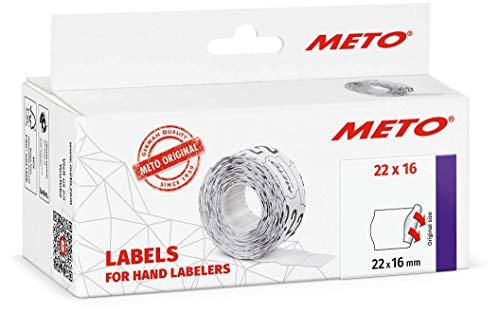 Meto 9506159 - Etiquetas para etiquetadoras manuales (22 x 16 mm, 2 líneas, 6000 unidades, adherencia permanente, para Meto,...