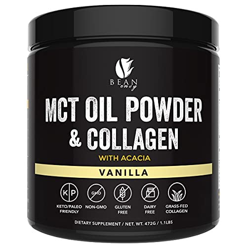 Bean Envy MCT Oil Powder with Collagen and Acacia - Gluten & Dairy-Free - Keto Creamer for Coffee, Ice Cream, Shakes and Smoothies - Vanilla