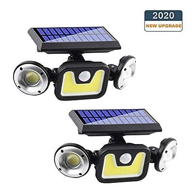 OZS-2 Pack 3Heads Solar Motion Sensor Lights, Solar Powered Security Lights, 83COB Super Bright Solar lights outdoor, Motion Detected Spotlight, Waterproof Flood Lights for Entryways Garage Patio Yard