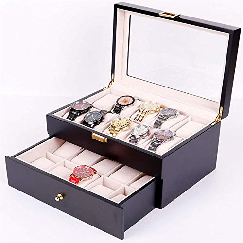 N/ A Uhrenbox mit Schublade, Uhrenbox Doppellagige Lackfarbe Hochwertiges Klavier mit 20 Steckplätzen Aufbewahrungsdisplay Tragbar Hohe Qualität