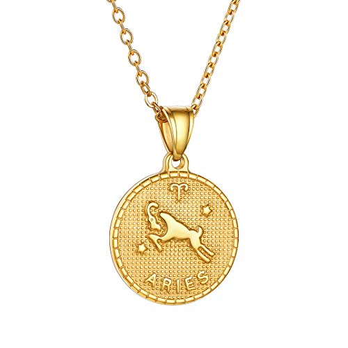 GoldChic Jewelry Dorado Aries Colgante Collar Acreo Inoxidable, 12 Signos astrológicos Joya para Hombre y Mujer, Regalo para Amor en Cumpleñaos Aniversario Navidad