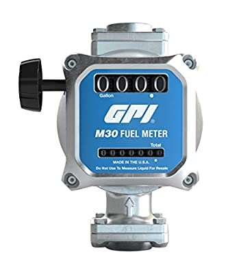 """GPI M30 Mechanical Fuel Meter in Gallons, 5 to 30 GPM, 1"""" NPT Inlet/Outlet, 4-Digit Display, 2% Accuracy (165100-01)"""