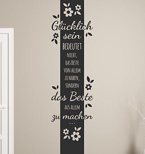 tjapalo® s-pkm134 Wandtattoo XL Wandbanner Blumen Wandtatoo Wohnzimmer Spruch Glücklich sein bedeutet das beste (Höhe160 x Breite 37cm)