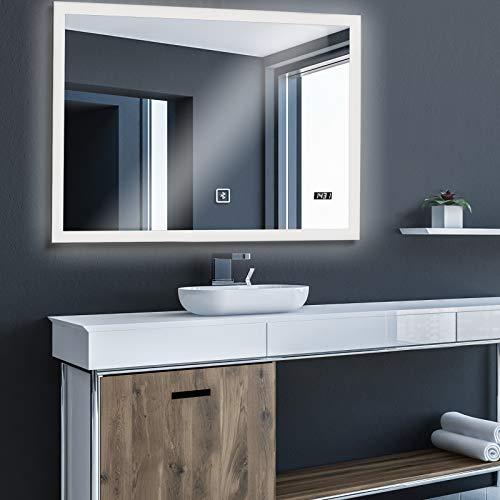 Aquamarin® Badspiegel mit LED Beleuchtung - EEK A++, Touchschalter, Dimmbar, Kaltweiß, Neutral Warmweiß, Einstellbar, Digitaluhr, versch. Größen Modelle - Badezimmerspiegel, Lichtspiegel, LED Spiegel