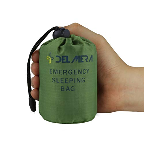 Delmera Emergency Survival Sleeping Bag, Lightweight Waterproof Thermal Emergency Blanket, Bivy Sack with Portable Drawstring Bag for Outdoor Adventure, Camping, Hiking, Orange (Green- one Pack)
