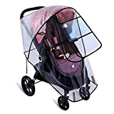 Universal Stroller Raincover, Upgraded Rainproof Dustproof Windproof Pushchair Stroller Buggy Pram Large Throw Over Rain Cover with Canopy and Zipper Door Universal for Carrycots,Traditional Prams