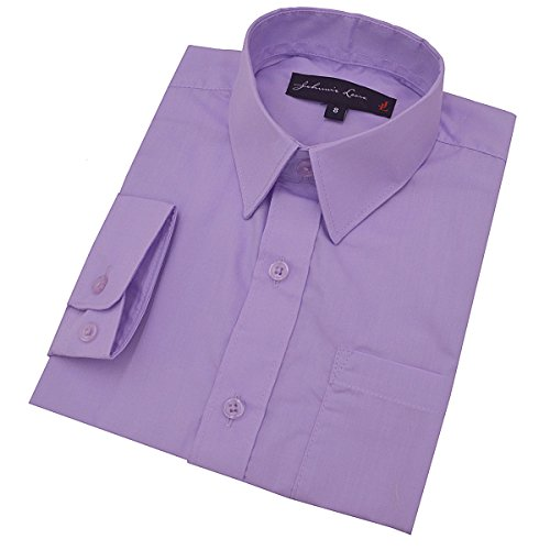 Little Boy's Long Sleeves Solid Dress Shirt #JL32 (6, Lilac)