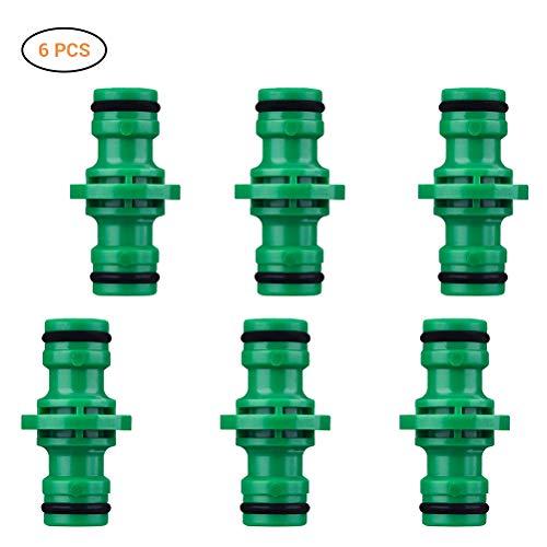 SayHia Gardena verbinder, 6 stuks dubbele stekker, slangverbinder, verlengstuk voor tuinslang buis, verbinding, voor de overgang van 13 mm (1/2)- naar 13 mm (1/2) slangen