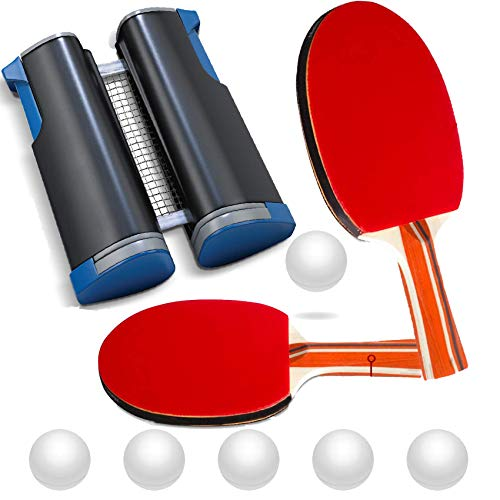 Ping Pong Paddle Set Retractable Ping Pong Net for Any Table with 2 Professional Table Tennis Paddles 6 Balls Anywhere Ping Pong Equipment Home Indoor or Outdoor Portable Table Top Game to Go