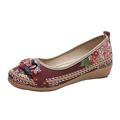 Minetom Damen Vintage Ethnische Bestickte Schuhe Tanzschuhe Niedrigem Keil Ballerina Mary Jane Blumen Leinen Flache Halbschuhe Espadrilles A Braun 41 EU