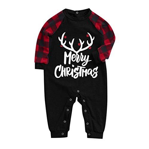DaoAg - Conjunto de pijamas a juego para la familia, para parejas, niños, impresión de letras de manga larga, blusa a cuadros y pantalones de tartán para...