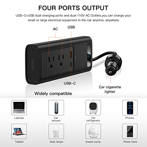 Baseus Car Inverter 150W DC 12V/110V Car Outlet Adaptercar USB C LCD Screen with Switch and Current Outlet Adapter Power Inverters for Car (Gray)