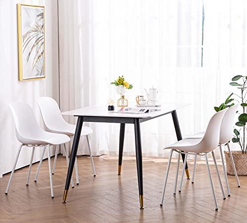 YOUNIKE Esszimmerstühle Home Office Stühle Indoor Outdoor Küche Matte Shell Lounge Chairs mit Kissen, Matt Metel Beine mit Fußpolster, für Schlafzimmer, Einfach zu montieren, 4er Set, Weiß