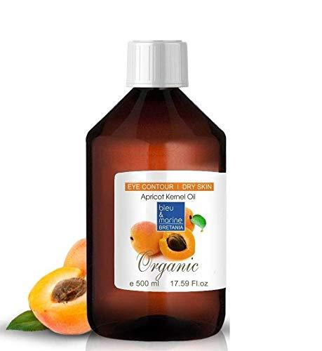 Aceite Orgánico de Nuez de Albaricoque 500 ml Prensado en Frío 100% Puro Vegetal Virgen Extra - Aceite Ecológico Seco Cabello y Corporal y Facial