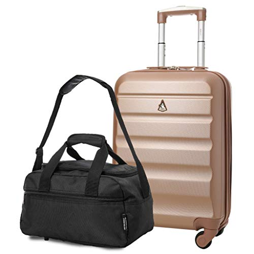 Aerolite 55x35x20cm Lightweight ABS Hard Shell Travel Carry On Cabin Hand Luggage Suitcase + 40x20x25 Ryanair Maximum Sized Holdall Cabin Bag (Rose Gold + Black)