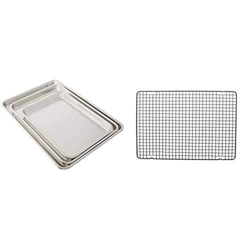 Nordic Ware 3 Piece Baker's Delight Set, Aluminum & Oven Safe Nonstick Baking & Cooling Grid (1/2 Sheet), One Size, Non-Stick