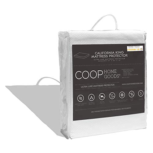 Coop Home Goods – Mattress Protector – Soft and Noiseless - Waterproof and Hypoallergenic - Protection Against Fluids/Spills/Mites - Oeko-TEX Certified Lulltra Fabric - California King