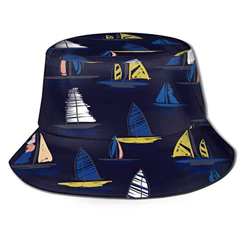 MAYUES Sombrero de Pescador Unisex Hermosa Mano Dibujo Colorido Wind Surf Plegable De Sol/UV Gorra Protección para Playa Viaje Senderismo Camping