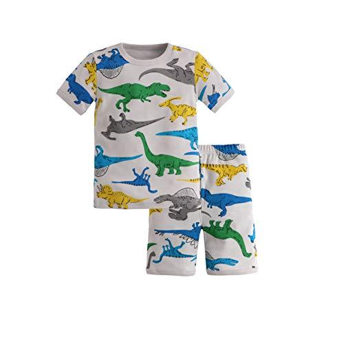 Blacking 男の子のパジャマ恐竜パジャマ、灰色の恐竜長袖トップスとボトムスパジャマ2組セット、コットンナイトガウン小学生の薄いパジャマ、春、夏、秋、冬90-140cm (半袖恐竜, 115)