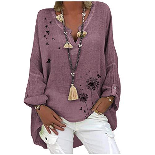 Damen Oversize Leinenbluse Elegant Schmetterling Druck Shirt Bluse Leinen V-Ausschnitt Longshirt Oberteile Tunika Lose Lang Tops