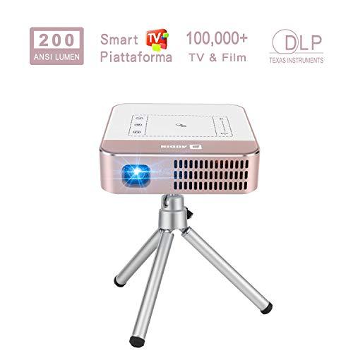 Video Proiettori AODIN WOW 200 ANSI Lumen WiFi Videoprojector, Mini LED DLP Intrattenimento Domestico Proiettori portatile Streaming 100000+ Serie TV e Film per App, supporto 4K