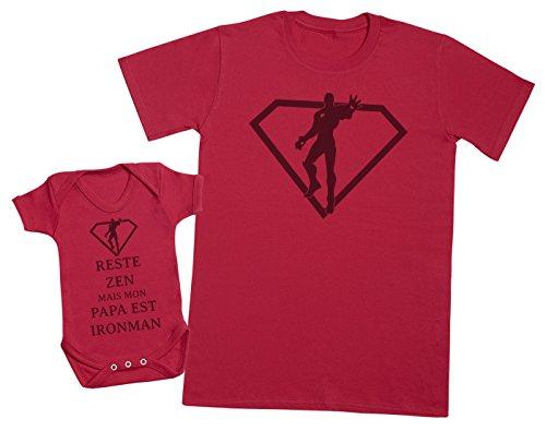 Zarlivia Clothing Reste Zen mais Mon Papa est Ironman - Ensemble Père Bébé Cadeau - Rouge - M & 18-24 Mois