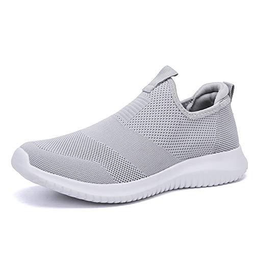 TAZAN 2019 Été Hommes Chaussures Slip on Men Casual Chaussures Léger Confortable Respirant Couple Marche Baskets Noir Gris Bleu 36-48EU,Gris,46