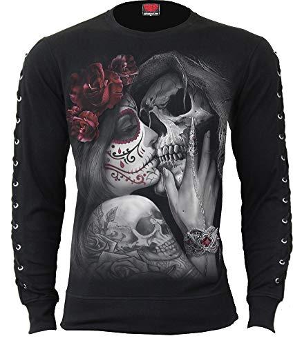 Spiral Direct Gothic Rock Slashed Goth Glove Top Black Maglia a Maniche Lunghe Donna