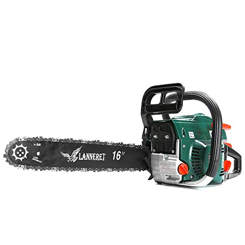 LANNERET 16 Inch Gasoline Powered Chainsaw 45CC 2 Stroke Chain Saw Woodcutting Saw with Chains,Tool Kit for Trees,Branches,Wood