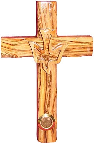 Zuluf Wall Hanging Wood Cross Religious Gift Olive Wood Dove Israel Holy Spirit Cross 16cm CRS023 product image