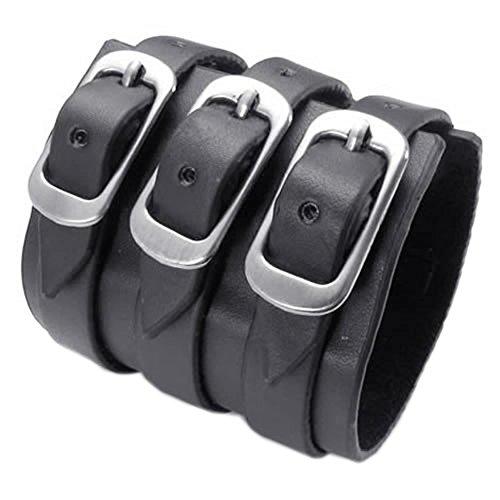 KONOV joyas pulsera para hombre–apta para la circonférence de brazo 17A 22cm–Gemelos–estilo punk rock–piel–Fantasía–para hombre–Cadena de mano–Color Negro–Con bolsa regalo