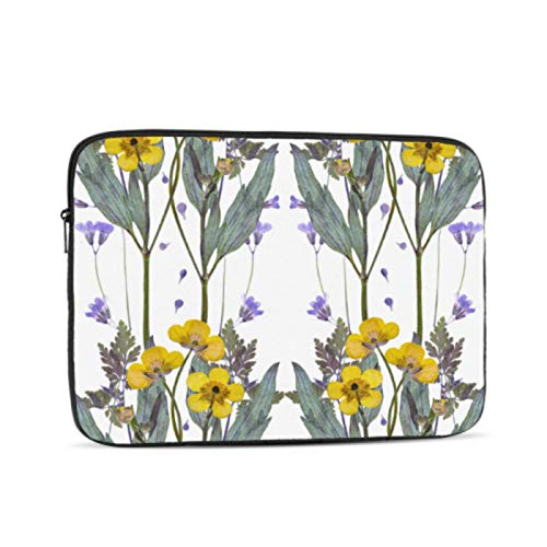 Laptop Sleeve Case 12 Inch,Resistant Oxford Cloth Laptop Sleeve/Notebook Computer Pocket Case/Tablet Briefcase Carrying Bag, Pressed Dried Buttercup Flowers Pattern On