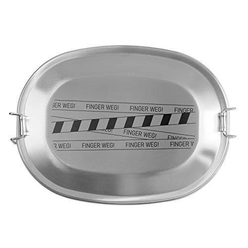 Geschenke 24 Brotdose für Männer (Finger Weg, klein): Frühstücksbox aus Edelstahl mit Name personalisiert - Vesperdose Bedruckt aus Metall, nachhaltig, plastikfrei, Lunchbox stabil und langlebig