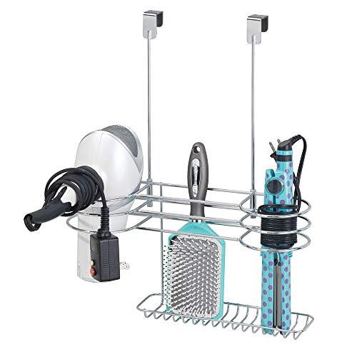 mDesign Soporte para secador de Pelo sin Taladro – Sencillo Colgador de Puerta con 4 Huecos para secadores, planchas o rizadores –...