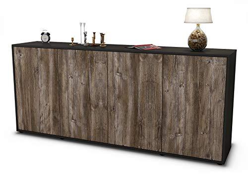Stil.Zeit Sideboard Elana/Korpus anthrazit matt/Front Holz-Design Treibholz (180x79x35cm) Push-to-Open Technik