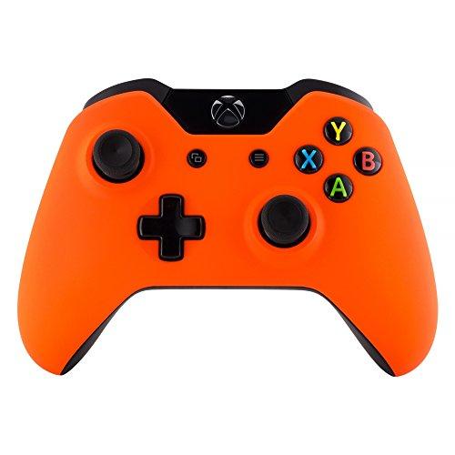 eXtremeRate Soft Grip Cover Custodia Copertura Frontale Anteriore Guscio Scocca Ricambio per Xbox One Standard Controller con/senza Porta per Jack da Cuffie 3,5mm(Arancione)
