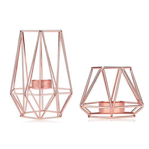 KOBWA Metall Teelicht Kerzenhalter Geometrische Metalldraht Eisen Teelicht Kerzenhalter Laterne Hochzeit Urlaub Veranstaltungen Party Dekorationen(Rose Gold)