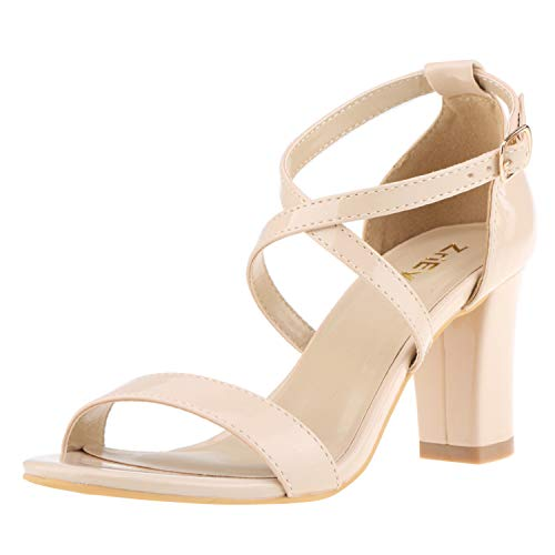 ZriEy Women's Chunky Block High Heels Across Strappy Sandals Fashion Sexy Heeled Sandals Patent Leather Nude Size 8.5