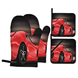 F-shop Cars Decor Rear View of A Futuristic Sports Car Motion Power Transportation Vehicle Sublime Motor Decor Red Black Oven Gloves and Pot Holders Set Personalized Barbecue Cooking Mitts