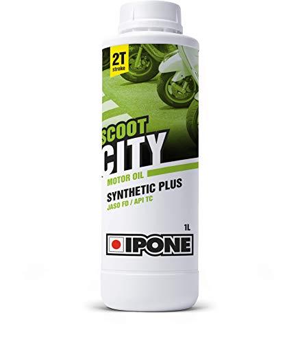 IPONE - Huile Scooter 2 Temps Scoot City - Bidon 1 Litre - Lubrifiant Semi-Synthétique Haute Qualité - Formulation Anti-Fumée Idéale pour Utilisation Urbaine
